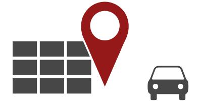 Service Icon - Werkstatt mit Auto und Location Pin